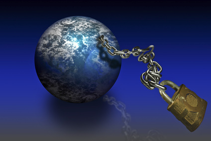 World globe on a chain leash with a lock at the end