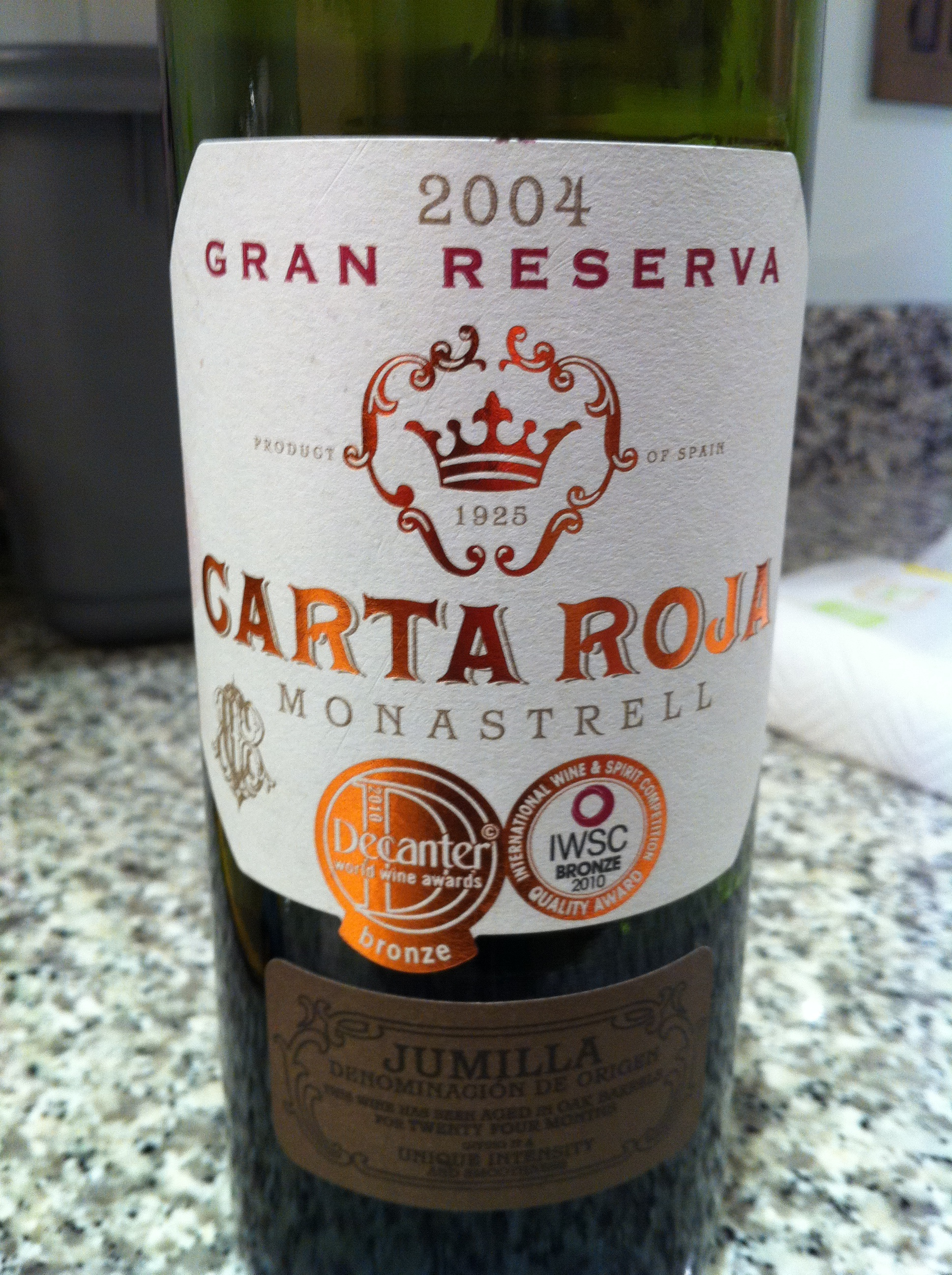 Carta Roja – quaffable and inexpensive Jumilla wine
